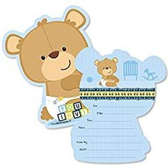Baby Boy Teddy Bear – Shaped Fill-In Invitations – Baby Shower Invitation Cards with Envelopes – Set of 12 - Baby Shower Invitations Baby Shower Invitation Cards, Baby Shower Favors, Baby Shower Parties, Baby Shower Decorations, Baby Showers, Teddy Bear Party, Teddy Bear Baby Shower, Baby Boy Shower, Free Baby Shower Printables