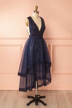 Virginia Navy Layered High-Low Gown with Lace | Boutique 1861