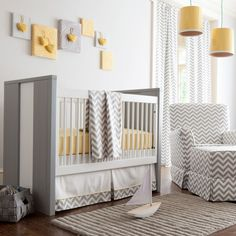 Baby Nursery With Modern Furniture And Hanging Yellow Lighting Choosing The Ideal Baby Nursery Furniture Pieces