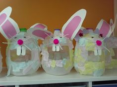 Made some fun bunny baskets out of milk gallons. Children enjoyed the process of making them.