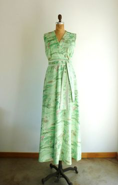 Hawaiian Maxi Dress Vintage 1960s Green Floral by MetricMod, $42.00