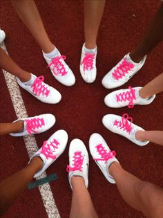 Breast Cancer Awareness cheerleading squad shoes w/ pink laces. I've always wanted my squad to do this! Cheer Team Gifts, Cheer Coaches, Cheerleading Gifts, Cheer Mom, Cheer Stuff, School Cheerleading, Softball Gifts, Basketball Gifts, Pink Cheer Bows