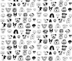Black and White Dogs fabric by littleislandcompany on Spoonflower - custom fabric
