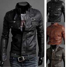 Men's Fashion Stand Collar PU Leather Motorcycle Jackets
