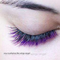 Purple and pink eyelash extensions using black glue by Eva Bond studios
