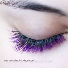 Purple and pink eyelash extensions using black glue by Eva Bond studios