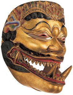 Yogyakarta, Central Java, Indonesia  Dance mask of Bhuta Cakil, late 19th century wood, gold, gemstones, leather, horse hair