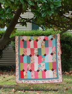 """Moda Bake Shop: """"Auntie's Diamonds"""" quilt pattern / tutorial - Uses 1 layer cake & 1 charm pack in addition to yardage - Finished quilt is 57"""" x 88"""""""