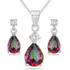 Carat Natural Mystic Rainbow Topaz Pendant and Earring Set in Sterling Silver Topaz Jewelry, Diamond Jewelry, Jewelry Necklaces, Rainbow Topaz, Mystic Topaz, Amethyst Pendant, Jewelry Stores, Earring Set, Jewels