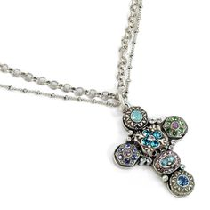 Etheria Cross Necklace - Sweet Romance ethereal Pastel Crystal Cross Jewelry