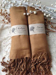 Set of 5 Custom Caramel Shawls, Pashmina, Scarf, Shawl, Wedding Favor, Bridal Shower Gift, Bridesmaids Gift, Wrap, Welcome Bags & More