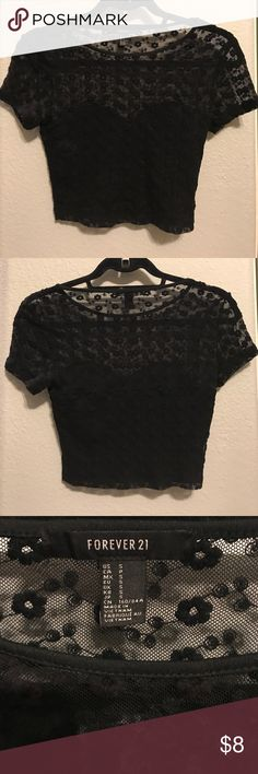 Small Black Crop Top Sheer Crop Top with lining! Size Small from Forever 21 Forever 21 Tops Crop Tops