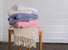 Brahms Mount crafts premium cotton, linen and wool blankets, throws and towels on antique shuttle looms in Maine, USA All Gifts, Best Gifts, Cotton Throws, Herringbone Pattern, Wool Blanket, American Made, Plush, How To Make, Beach House