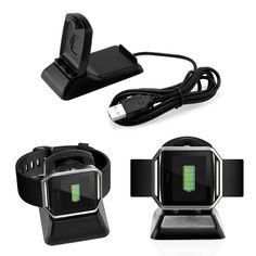Oct17 Fitbit Blaze Charger and Phone Stand Charging Station Dock Cradle Holder Clip Premium Plastic Bracket Cable Accessories for Fitbit Blaze-Black * Find out more about the great product at the image link. (This is an affiliate link and I receive a commission for the sales)