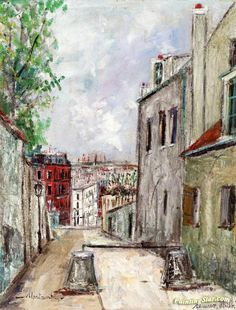 Rue Du Mont Denis In Montmartre by Maurice Utrillo Handmade oil painting reproduction on canvas for sale,We can offer Framed art,Wall Art,Gallery Wrap and Stretched Canvas,Choose from multiple sizes and frames at discount price. Oil Painting Supplies, Oil Painting Techniques, Painting Process, Paris Painting, Oil Painting On Canvas, Canvas Art Prints, Oil Paintings, Painting Art, Maurice Utrillo