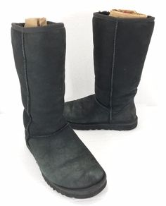 UGG Australia Womens 8 Classic Tall 5815 Black Shearling Lined Suede Boots  #UGGAustralia #SnowWinterBoots #Casual