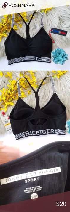 Tommy Hilfiger Sports Bra Black padded sports bra with ruching between the cups and adjustable straps. Tommy Hilfiger logo on the front elastic band, and Hilfiger on the back of the elastic band. Small cutout on the back. New with tags. Size small. Tommy Hilfiger Intimates & Sleepwear Bras