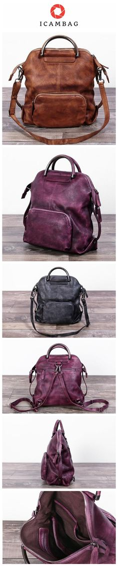 a8dac13b53d9 Genuine Leather Hand Bag Women Backpack Casual Backpack Canvas Shoulder Bag