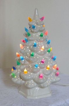 vintage ceramic Christmas tree with lights 11 inches by brixiana, $40.00