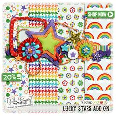 "Lovin' it...I""m a Roy G. Biv type of person if I haven't communicated that clearly yet..lol -::- Thank Your Lucky Stars by Bella Gypsy #digiscrap #rainbows #bellagypsy"