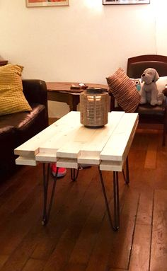 Coffee table with black hairpin legs #mydiy #homemade