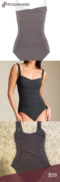 Karla Colletto Rouched One Piece Bathing Suit EUC, no flaws or signs of wear. Purchased from Netaporter for 253. Nice gray color, flattering fit. karla colletto Swim One Pieces
