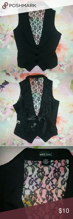 Wet Seal Lace Tie Formal Vest Excellent gently loved condition, no holes, stains, tears or signs of wear. If you would like measurements or have any other questions please let me know. Wet Seal Jackets & Coats Vests