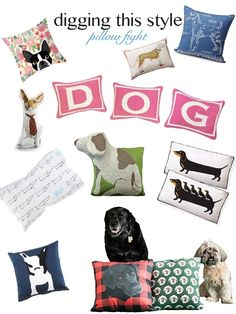 Digging This Style:  Pillow Fight, throw pillow for dog lovers, dog themed pillows gift ideas