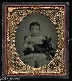 Cased Civil War Tintype Photo of Little Girl Holding Pet