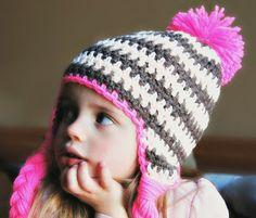 Neon pink Pom Pom Striped hat