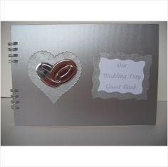 Wedding Guest Book handmade with hardback Satin silver covers 2 wedding rings on eBid United Kingdom
