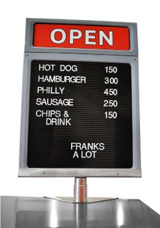Hot Dog Cart Menu Board, customizable front and back message areas. #TopDogCarts