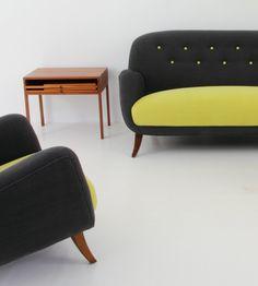Beautiful vintage sofa and armchair