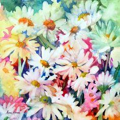 Watercolor Daisies by Marni Maree