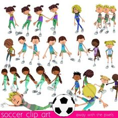 Fitness Clip Art - Soccer Football Commercial Use Clipart. Ideal for PE and fitness educational resources.