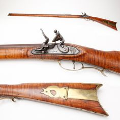J. Cooper Left-handed Pennsylvania Kentucky Flintlock Rifle: This left-handed .50 ca flintlock is indeed special. With the flintlock mechanism being somewhat dangerous to fire with your face on the same side of the stock, a left-handed flintlock would have been a handy firearm for southpaw shooters. Cooper's horse-headed patchbox would work well in either configuration (LH or RH). We'd love to find a right-handed Kentucky that matched the GOTD to exhibit both together. http://bit.ly/VLypos