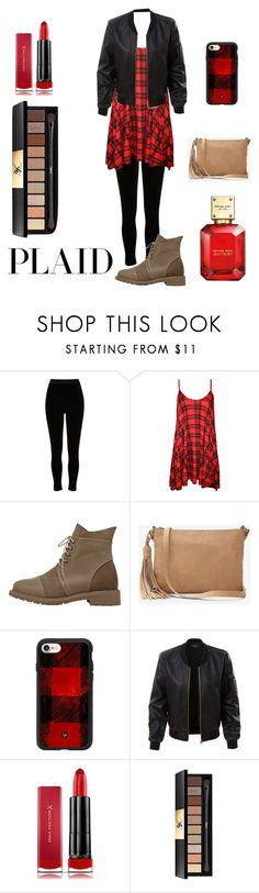 """Plaid outfit"" by ilovezooark24 ❤ liked on Polyvore featuring River Island, WearAll, Express, Casetify, LE3NO, Max Factor, Yves Saint Laurent and Michael Kors"