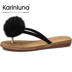 KARINLUNA 2017 Hot Sale Comfort Hair Balls Women Flip Flops Woman Shoes Leisure Flat Heels Beach Slides For Summer