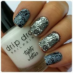 Here is my 1st stamping swatch from @dripdropnailpaint  This is Yoga Pants and Tighty Whities that can be used for stamping or as a regular nail polish. As usual with all her polishes the formula was perfect for application and went on nice and smooth. I have 2 coats of polish on and it dried quickly (the black could easily have been a 1 coater).  As for the stamping I am in love! You only need to use a very small amount of polish on the plate and it doesn't dry immediately on the stamper…