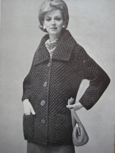 1960's Vintage Knitting Pattern Women's Sweater Coat PDF Patterns 6402