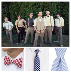 Mismatched groomsmen. Love the pose by the second groomsmen from the left.