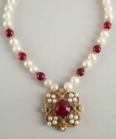 Chanel: gold, ruby red and faux pearl flower pendant vintage necklace by abigail
