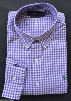 New XL POLO RALPH LAUREN Mens button down dress shirt purple checked  X-Large #PoloRalphLauren #ButtonFront