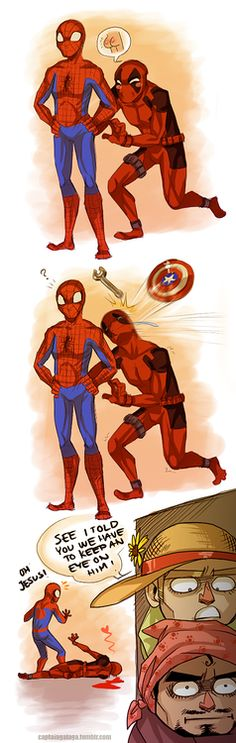Captain America and Iron Man have to look out for Spider-Man. From CaptainGalaga.tumblr.com