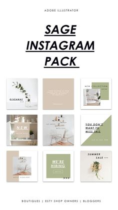 18 customizable Instagram templates built with boutique owners, Etsy shop owners, and bloggers in mind. The Sage template offers clean, minimal, and modern templates that will have your Instagram looking professional, and curated. #instagram #templates Instagram Design, Instagram Feed Layout, Feeds Instagram, Instagram Grid, Instagram Post Template, Instagram Posts, Social Media Template, Social Media Design, Social Media Images