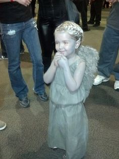TINY WEEPING ANGEL  Comic con 2012. @Courtney Baker Rits I vote we dress our little siblings up as Doctor Who-related things for Halloween.