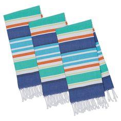 Design Imports Beachy Blue Stripes Fouta Towel - Set of 3 - COSD39025