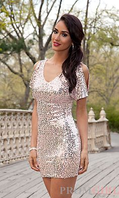Short Sequin Dress with Sleeves at PromGirl.com Cute for graduation!!