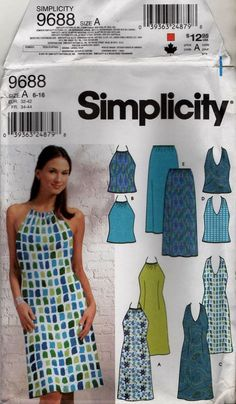 Simplicity 9688 Misses Summer Dress, Top and Skirt Multi Sizes 6 - 8 - 10 - 12 - 14 - 16 Skirt Patterns Sewing, Simplicity Sewing Patterns, Vintage Sewing Patterns, Clothing Patterns, Miss Dress, Pajama Top, Sewing Clothes, Fashion Outfits, Summer Dresses