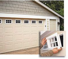 Make and install custom windows in your windowless garage door.  No plans here, but the graphic is enough to get the mind going with ideas.  Simple DIY windows or castoffs from HD, Lowes or Habitat would work great for this.